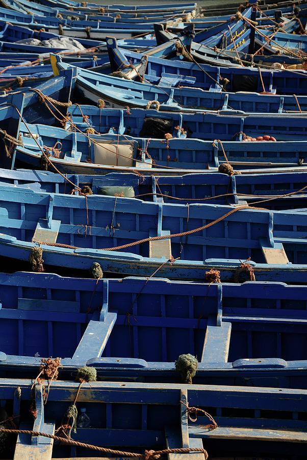 Islam Digital Art - Essaouira Blue Boats by Carlos Perez Muley