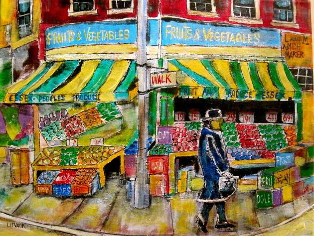 New York City Painting - Essex Produce Market by Michael Litvack