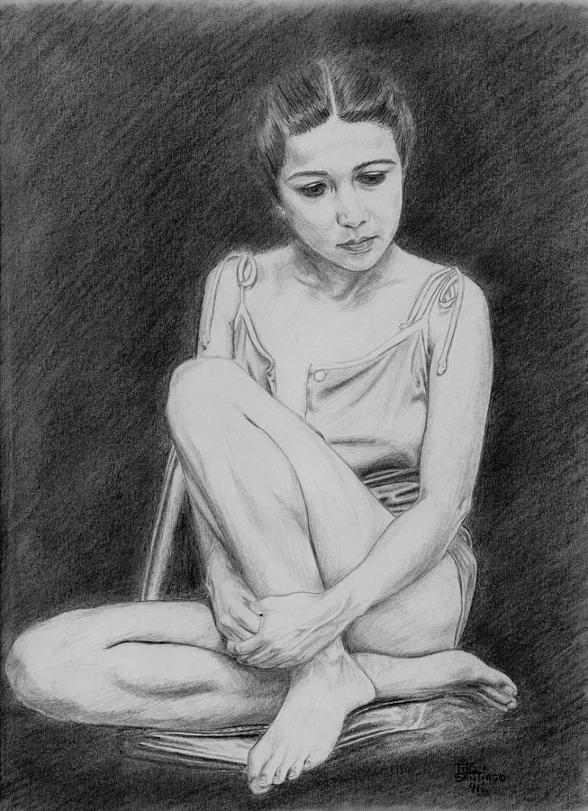 People Drawing - Estella by Tito Santiago