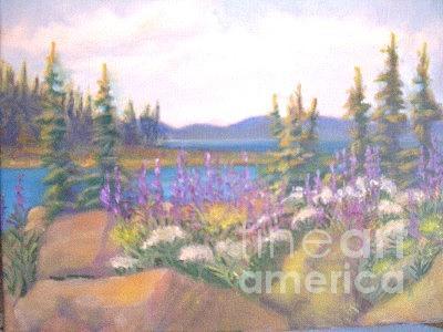 Lake Painting - Estotin Lake Elk Island Natl Park by Carol Hama Chang