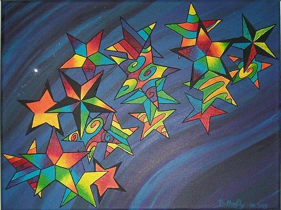 Colors Painting - Estrellas by Emmely  Hillewaert
