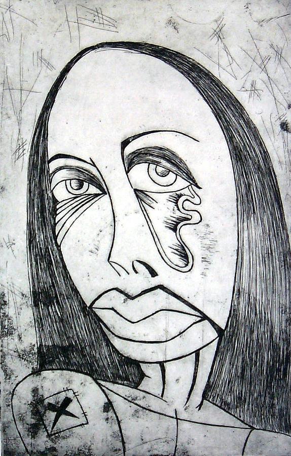 Girl Print - Etching  by Thomas Valentine