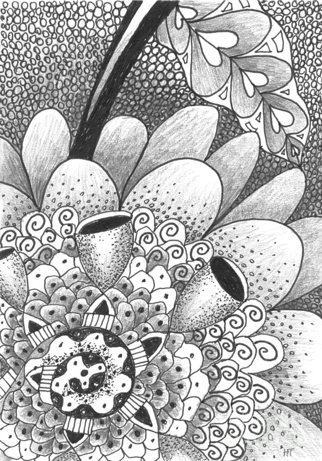 Flower Drawing - Eternally by Helena Tiainen