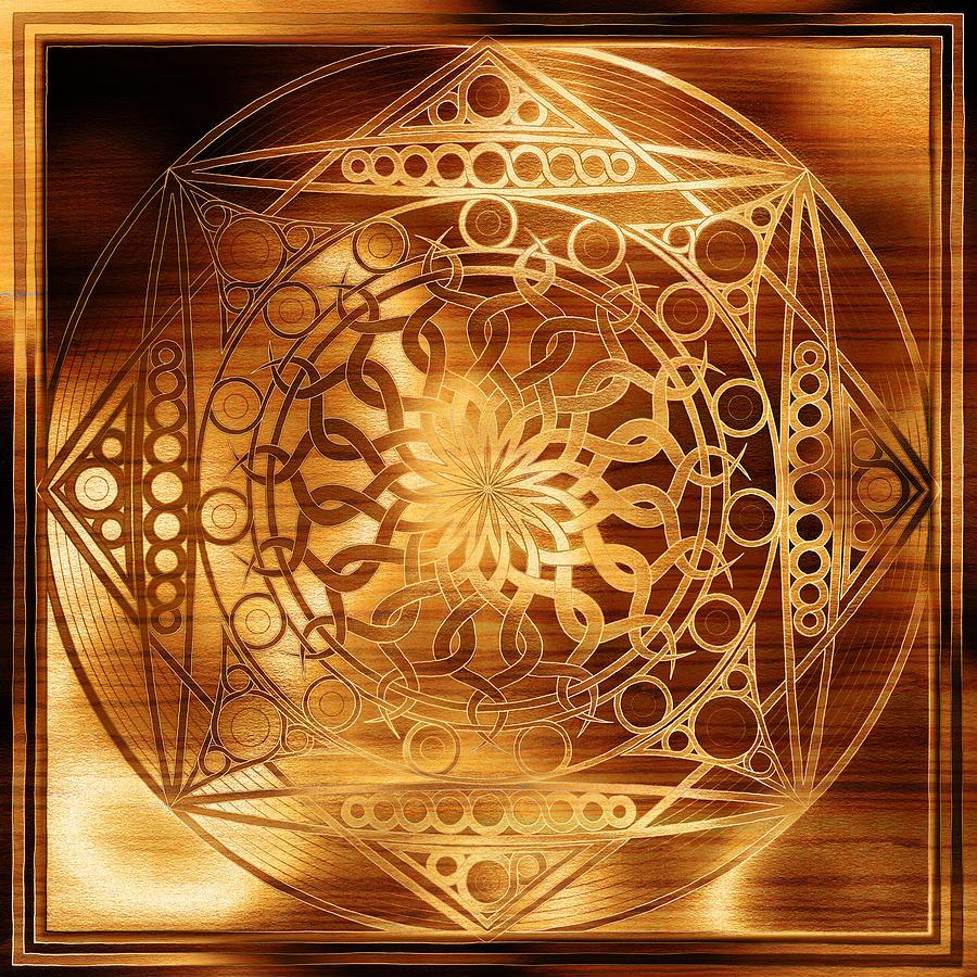 Mandala Digital Art - Eternity Mandala Golden Zebrawood by Hakon Soreide