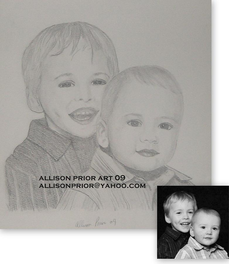 Pencil Portraits Drawing - Ethan And Brandon by Allison Prior