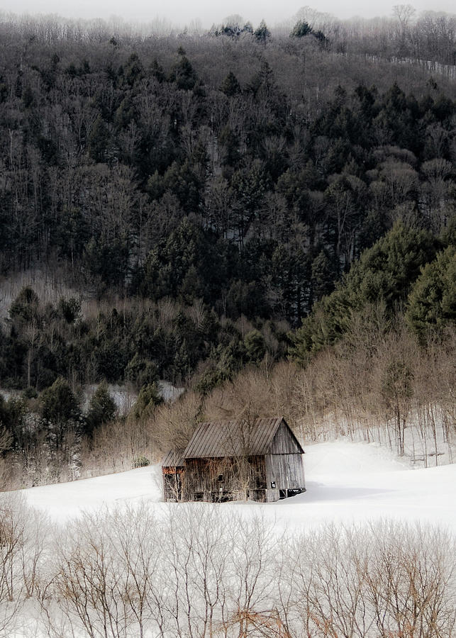 Vermont Photograph - Ethereal Barn in Winter by Liz Mackney