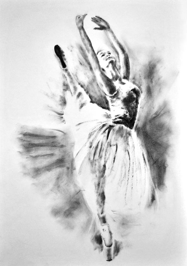 Ethereal Black And White Ballerina Poster 1 By Diana Van Painting By Diana Van