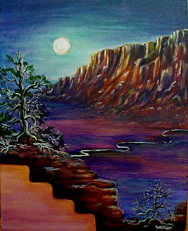 Mesas Painting - Ethereal Moonrise by Diana Dearen