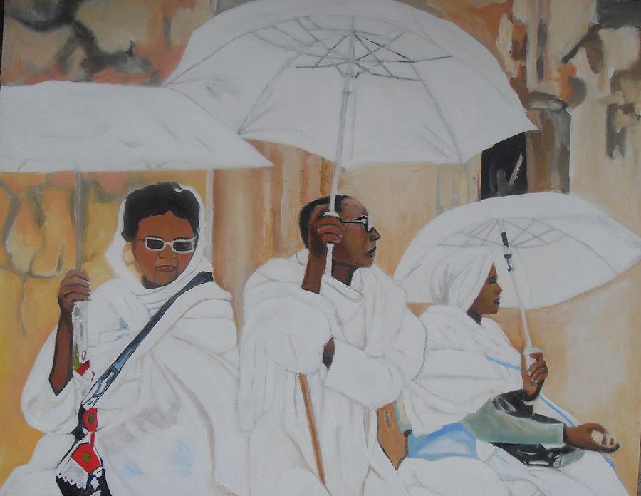 African Women Painting - Ethiopian Travelers by Patrick Hunt