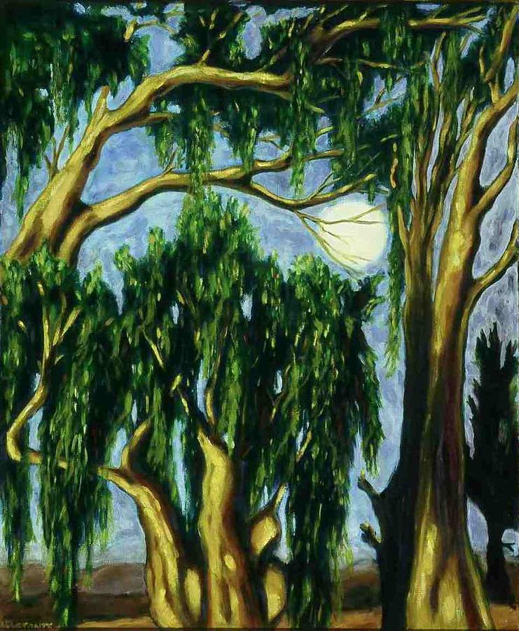 Moon Painting - Eucalyptus Moon by Helen O Hara