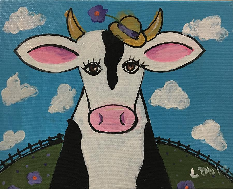 Cow Painting - Eunices Hat by Louie M
