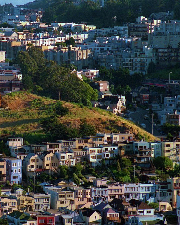 Eureka Valley Photograph - Eureka Valley, Summer Evening Light, San Francisco Cityscape, Diptych 2 by Kathy Anselmo