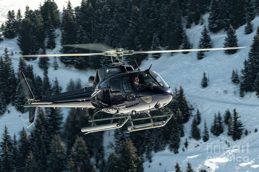 Eurocopter Photograph - Eurocopter As-350 Landing On Courchevel Dark Purple by Roberto Chiartano