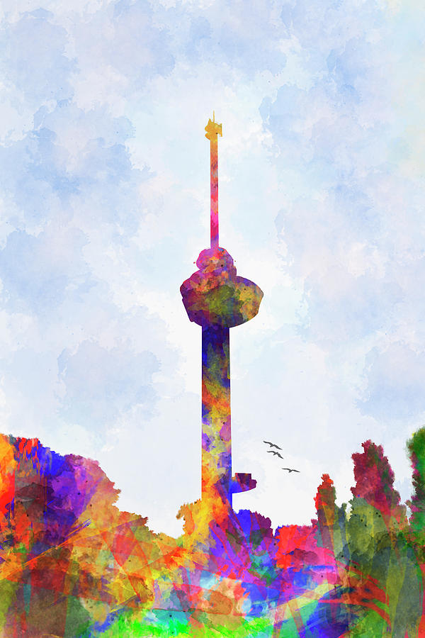 Euromast in watercolor by Adriana Zoon
