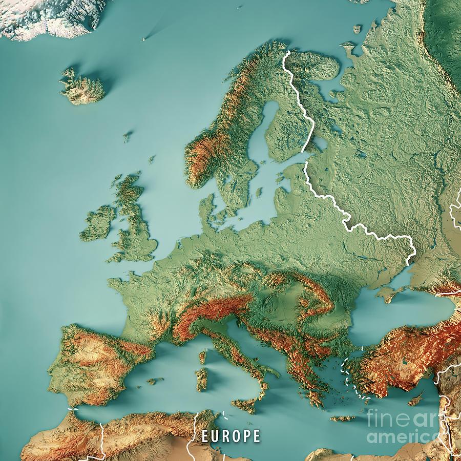 Europe Digital Art - Europe 3D Render Topographic Map Color Border by Frank Ramspott
