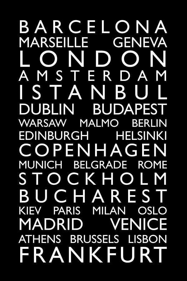 Europe Digital Art - Europe Cities Bus Roll by Michael Tompsett