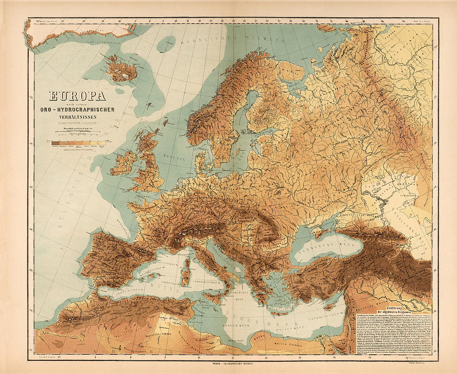 Resources Map Of Europe.Europe Geological Map Showing Land And Water Resources