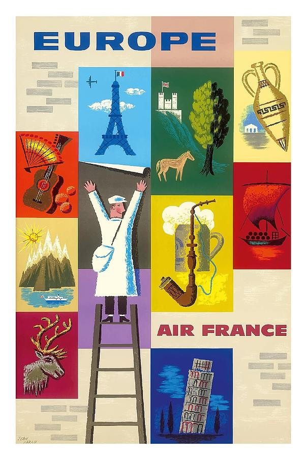 Well-known Europe Icons Of The European Countries Vintage Travel Poster By  GW88