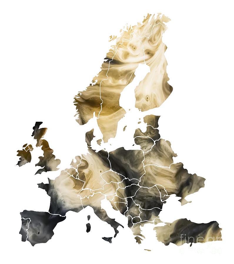 Europe Map Digital Art - Europe Map brown by Justyna Jaszke JBJart
