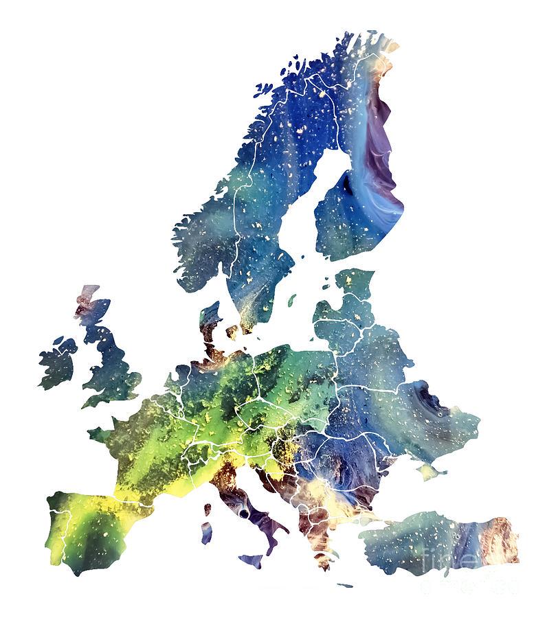 Europe Map Digital Art - Europe Map cosmic watercolor by Justyna Jaszke JBJart