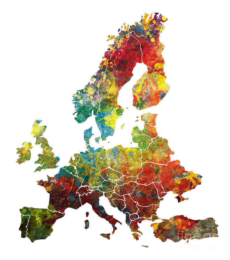 Europe Map Dark Colored
