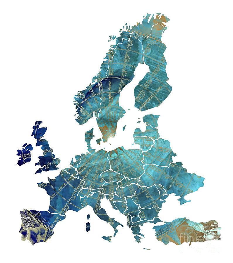 Europe Map Digital Art - Europe map wind map by Justyna Jaszke JBJart