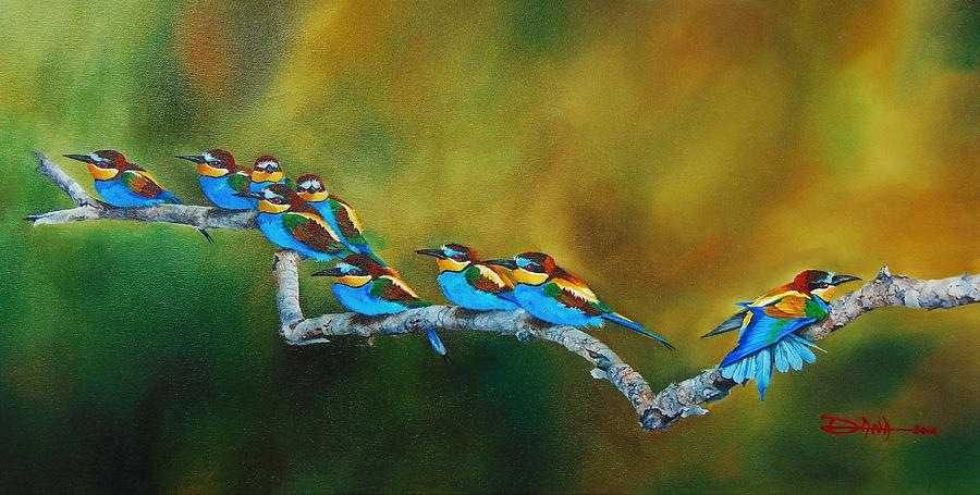 Birds Painting - European Bee Eaters by Dana Newman