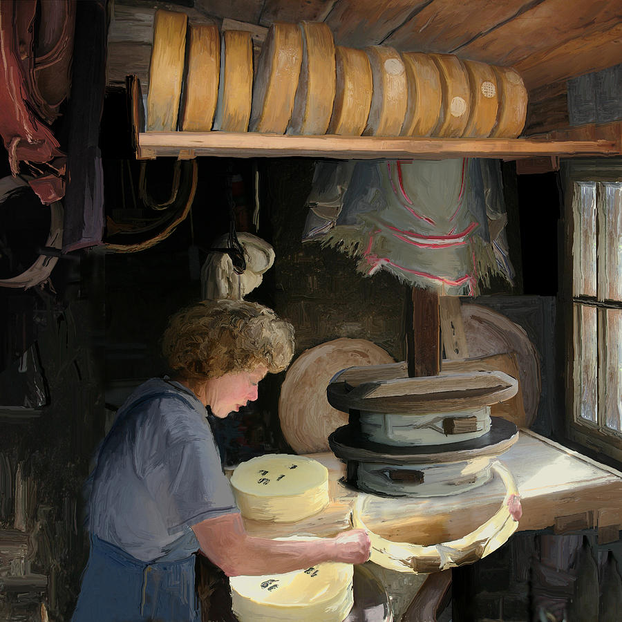 Old Painting - European Cheesemaker by Carol Peck