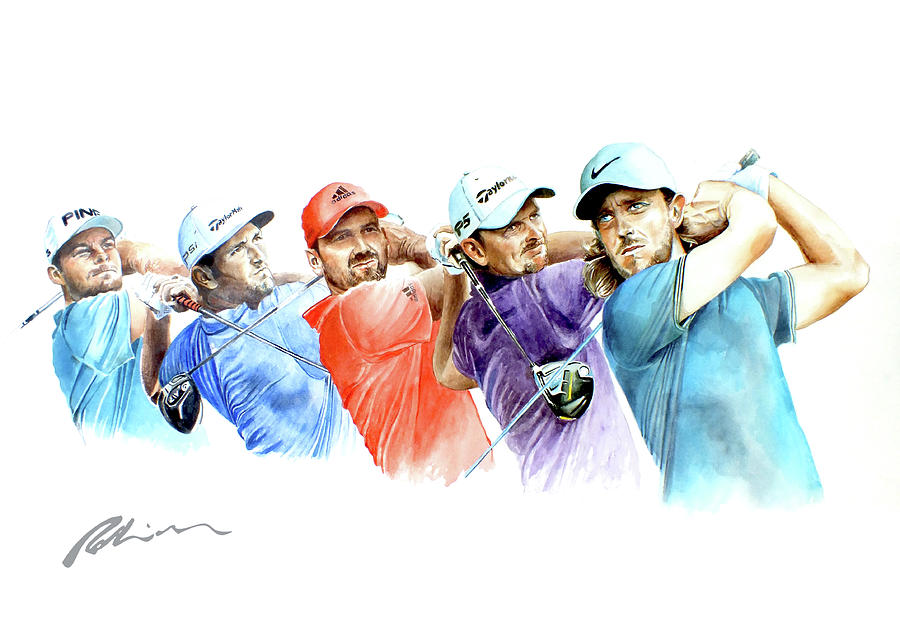 Race To Dubai Painting - European Golf Champions Race 2017 by Mark Robinson