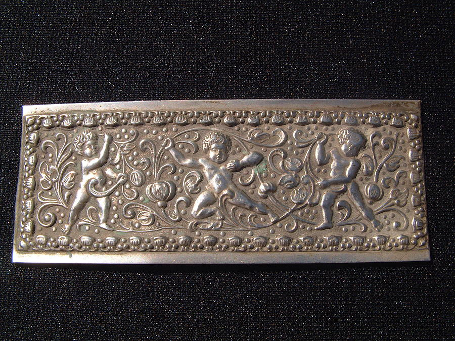 Repousse Silver Jewelry - European Silver Plaque Decorated In Repousse With 3 Cupids by European silversmith
