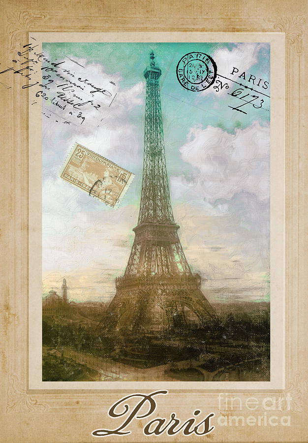 Carte Postale Painting - European Vacation Postcard Paris by Mindy Sommers