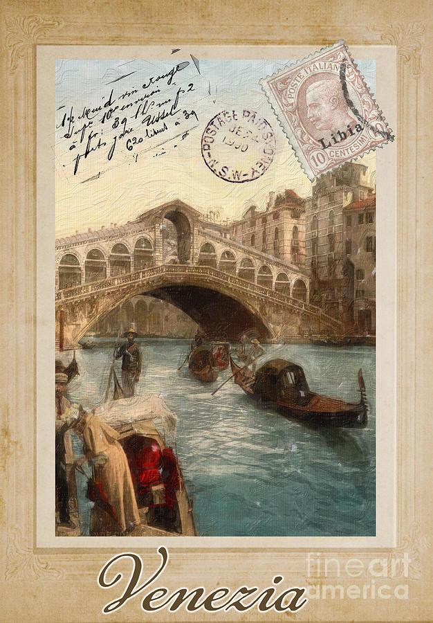 Carte Postale Painting - European Vacation Postcard Venice by Mindy Sommers