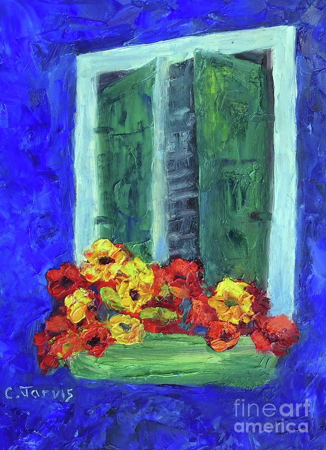 Burano Painting - European Window Box by Carolyn Jarvis