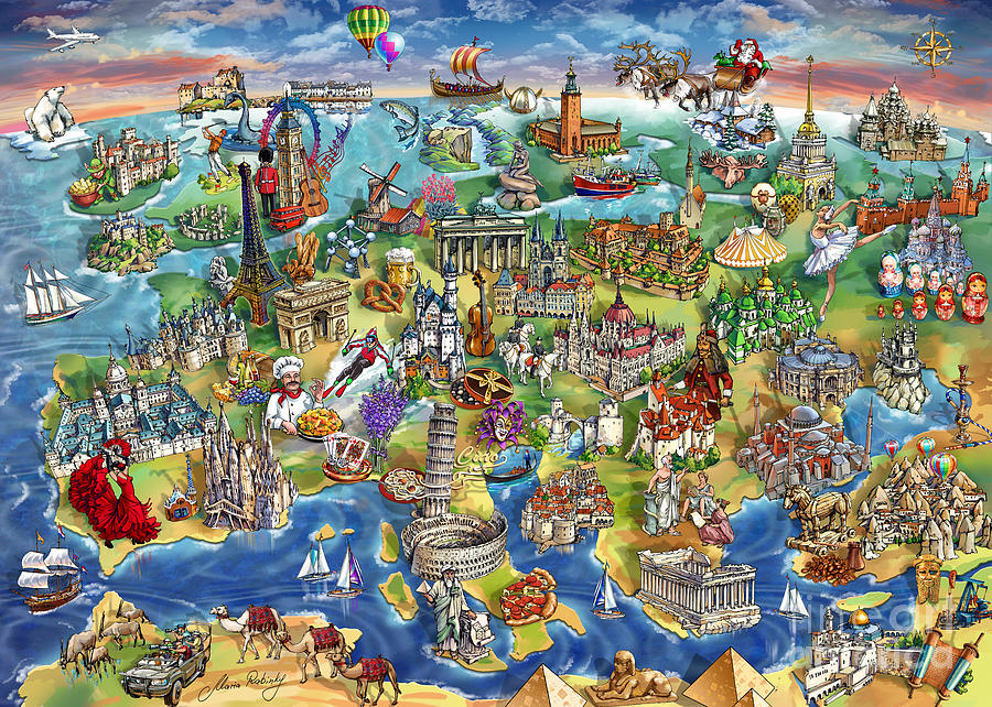 European World Wonders Illustrated Map Painting By Maria