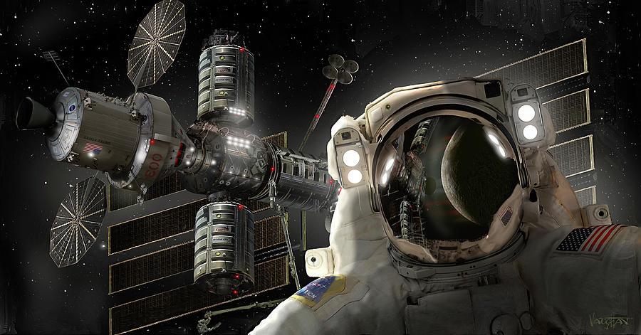 Deep Space Gateway >> Eva At Deep Space Gateway Digital Art By James Vaughan