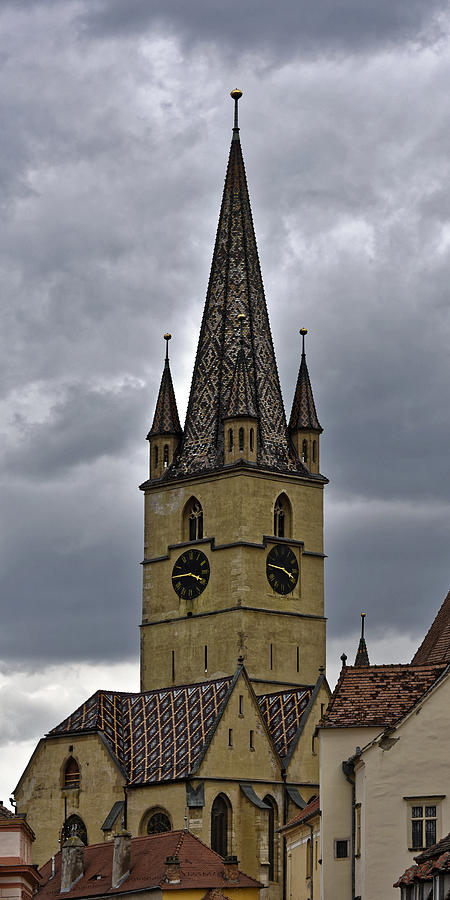 Ancient Photograph - Evangelical Cathrdral Sibiu Romania tower clock by Adrian Bud