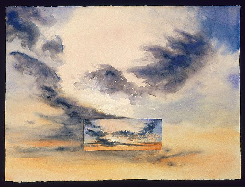 Sunset Painting - Evanston Sunset by Nancy  Ethiel