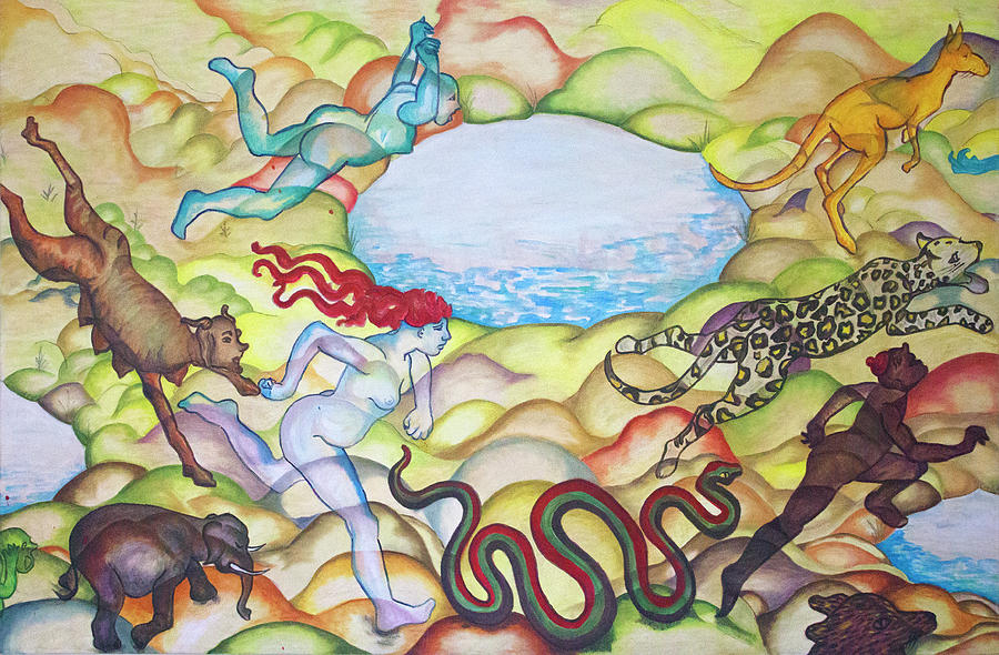 Eve Painting - Eve Being Chased Out Of The Garden Of Eden by Jackie Warner