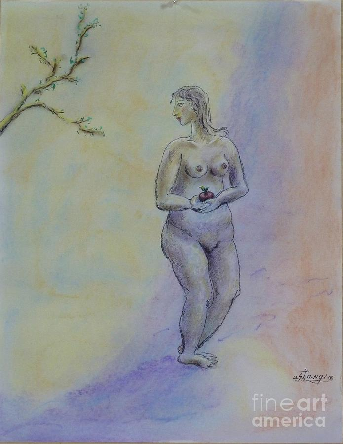 Woman Pastel - Eve by Ushangi Kumelashvili
