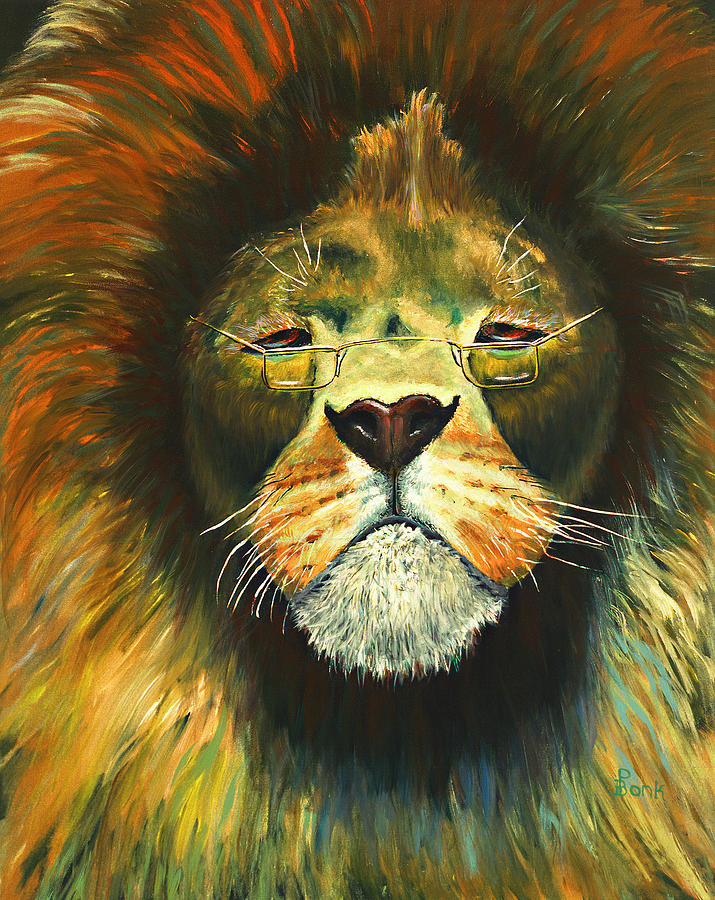 Lion Painting - Even Lions Get Old by Peter Bonk