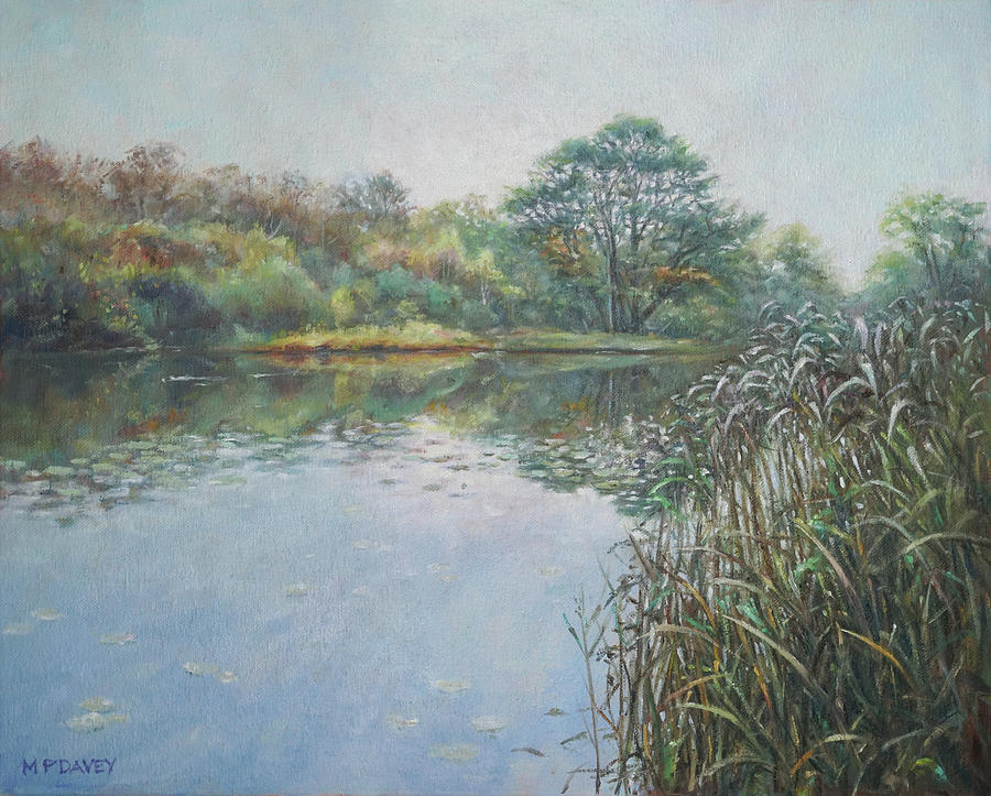Hampshire Painting - Evening At Southampton Common Lake by Martin Davey