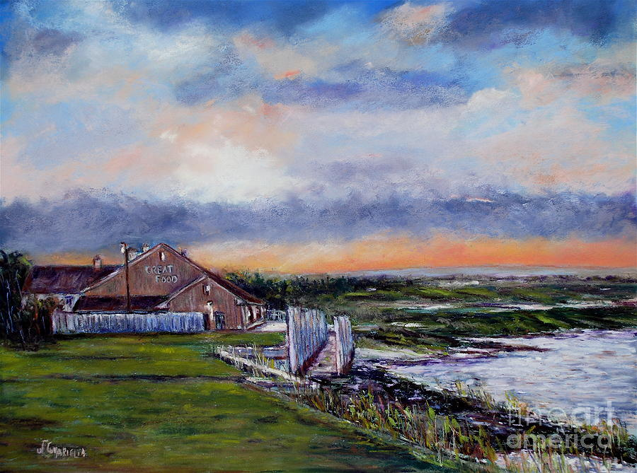 Landscape Pastel - Evening At The Bay by Joyce A Guariglia