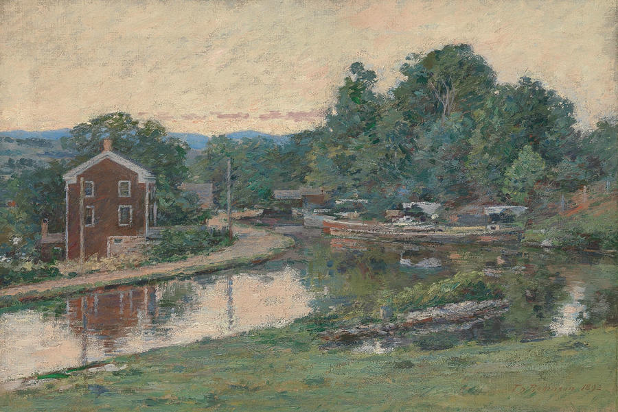 Theodore Robinson Painting - Evening At The Lock, Napanoch, New York by Theodore Robinson