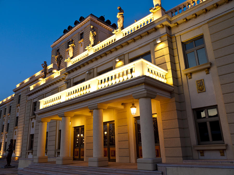 Skopje Photograph - Evening At The National Theater by Rae Tucker