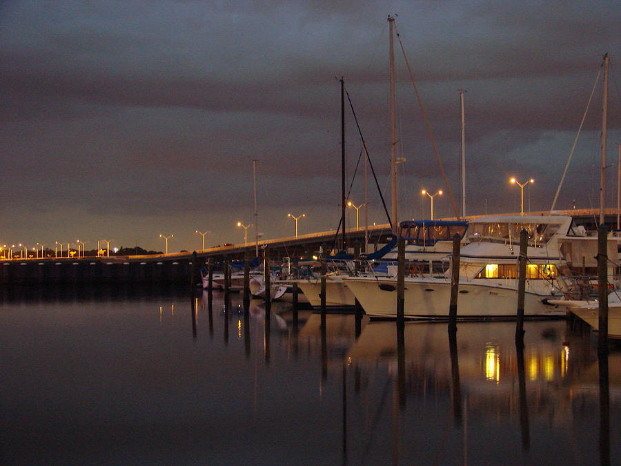 Marina Photograph - Evening At The Twin Dolphin Marina by Kimberly Camacho
