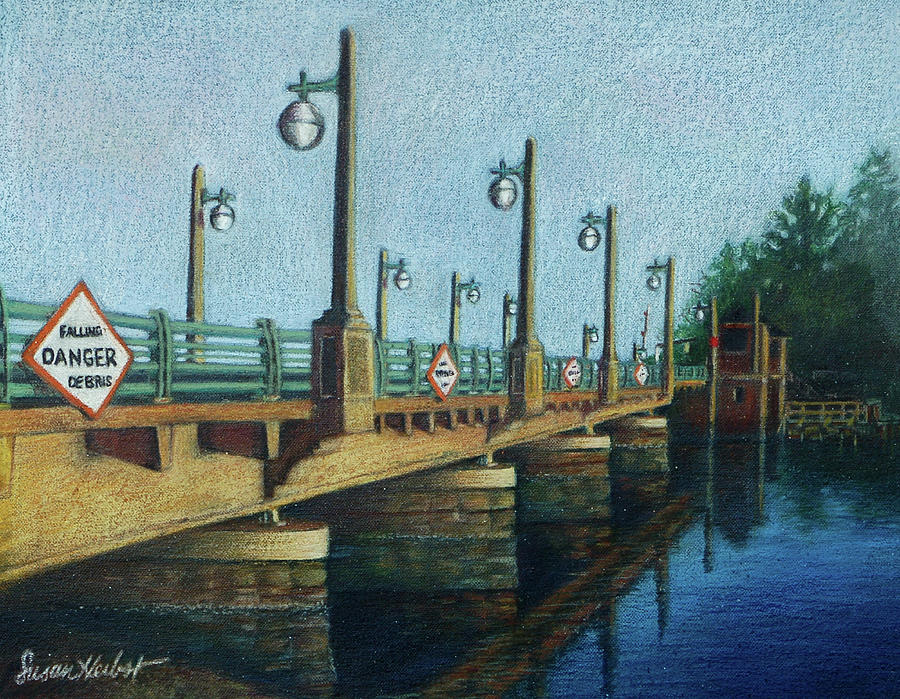 Bayville Painting - Evening, Bayville Bridge by Susan Herbst
