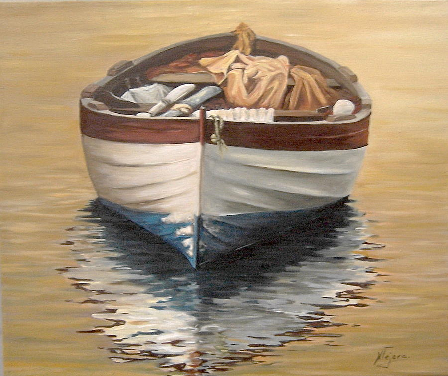 Evening Boat Painting by Natalia Tejera