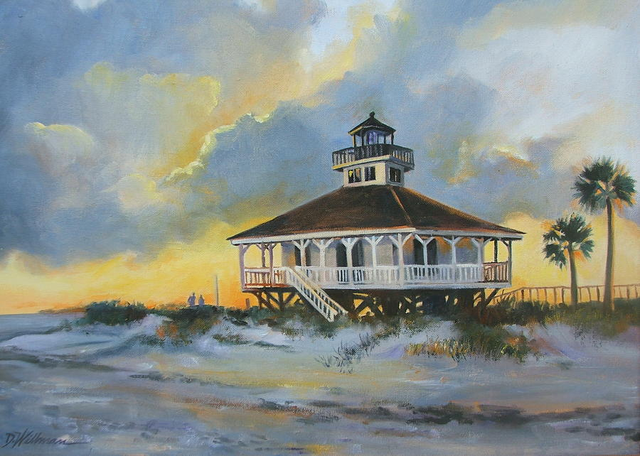 Oil Painting Painting - Evening  Boca Grande Light by Dianna  Willman