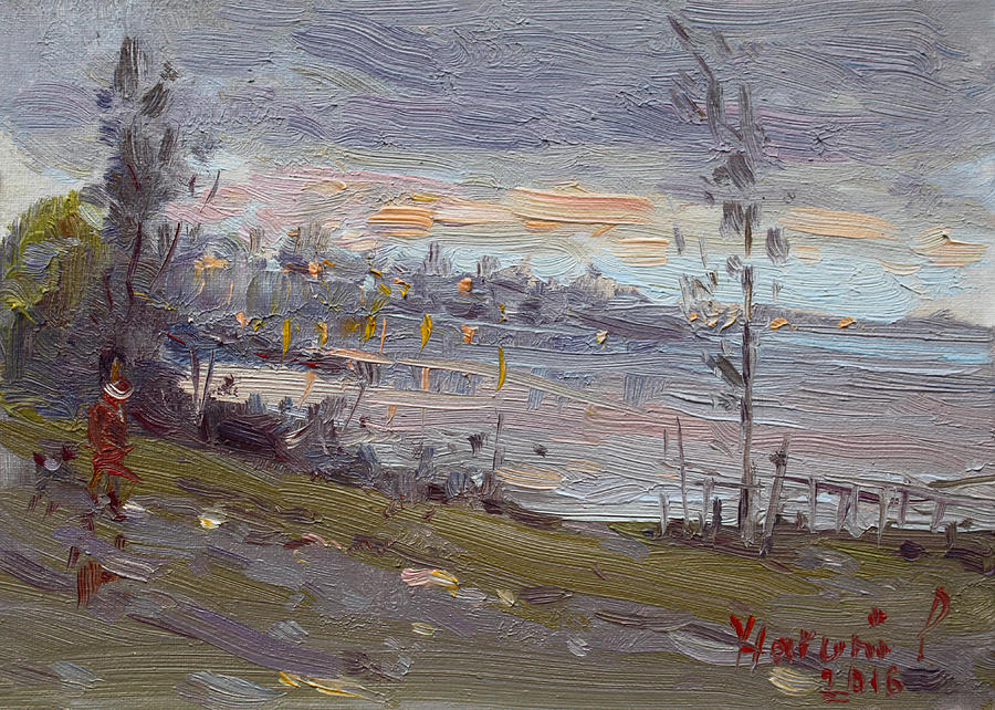 Evening Painting - Evening By The River by Ylli Haruni