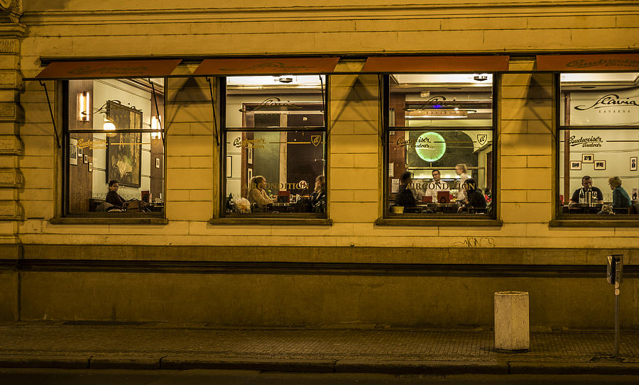 Prague Photograph - Evening Cafe In Prague by Marek Boguszak